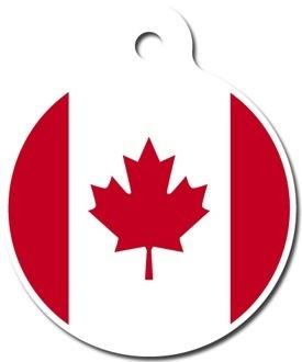 CANADIAN FLAG - Pet ID Tag - Custom Text - Dog Cat