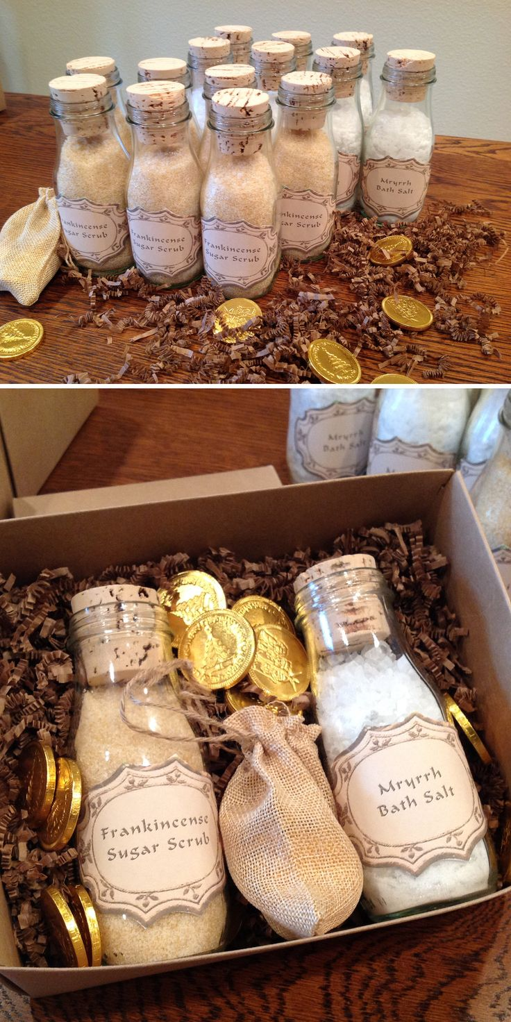 The Perfect Christmas Gift Box - Frankincense Sugar Scrub, Myrrh Bath Salts and Chocolate Gold foiled Coins - Sugars Scrub and Bath Salt recipe from http://www.theidearoom.net/2013/12/myrrh-bath-salts.html and delicious Chocolate Gold Coins from http://www.foiledagainchocolate.com/holiday