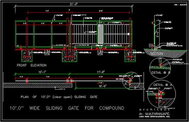 sliding gate 10 x 39 meters  dwgautocad drawing