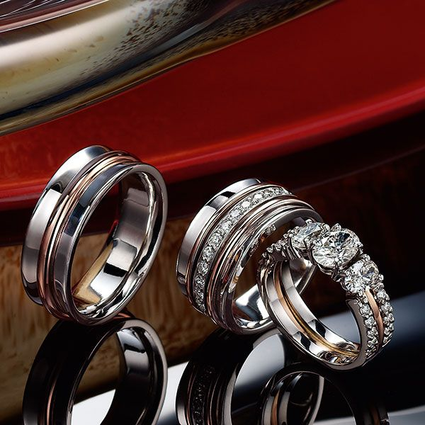 9k Red And White Gold Wedding Band Two 18k Red And White Gold Diamond Rings White Gold Diamond Rings White Gold Wedding Bands Fine Jewelry