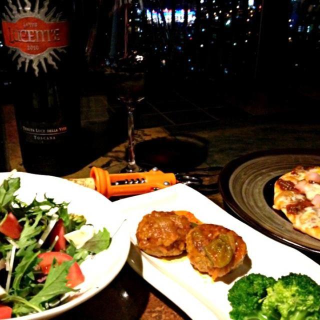 今日のワインのお供たち - 30件のもぐもぐ - 手作りピザ、チーズハンバーグ、サラダ& by ワイン