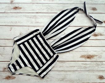 ❤ High Waisted One Piece Swimsuit - Handmade in a Vintage Inspired Design - This is Such a Figure Flattering Swimming Costume! ❤  ❤ In Stunning Nautical Sailor Style Bold Navy & Creamy White Stripe Print ❤  This swimsuit is everything that swimwear should be... cute, fun & gorgeous, yet at the same time jawdroppingly sexy and most importantly unique & edgy - if you are looking for swimwear that portrays who you are then look no further..... this is it!!!  I came up with this design because I…