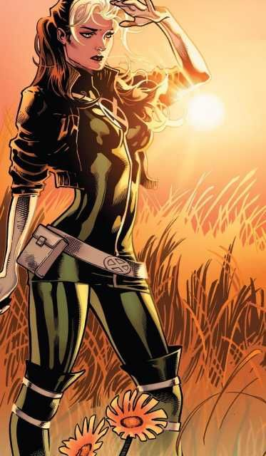 Once a member of the Brotherhood of Evil Mutants, Rogue has since become a veteran member of the X-Men. After many years, she has finally gained conscious control of her power to absorb the thoughts, abilities and memories of others through physical contact. She is currently a member of both the Avengers Unity Squad and the X-Men team, based out of Jean Grey's School for Higher Learning.