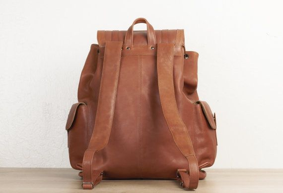 Large leather backpack for men brown travel by TheLeatherExpert