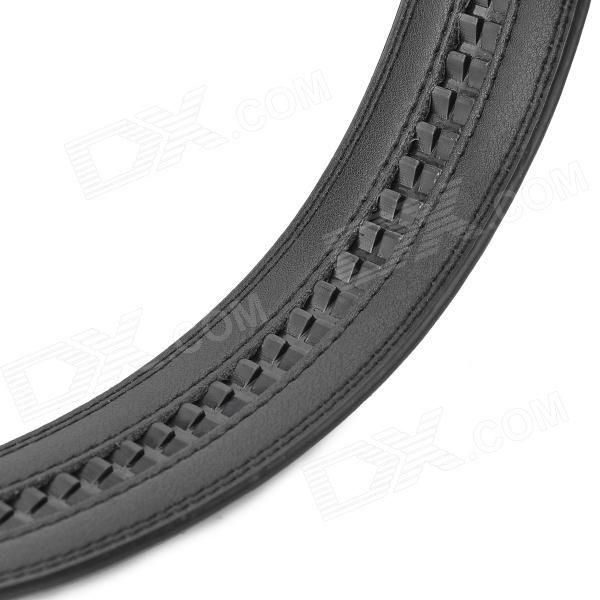 Cow Leather Belt w/ Zinc Alloy Buckle for Men - Black + Silver (120cm)