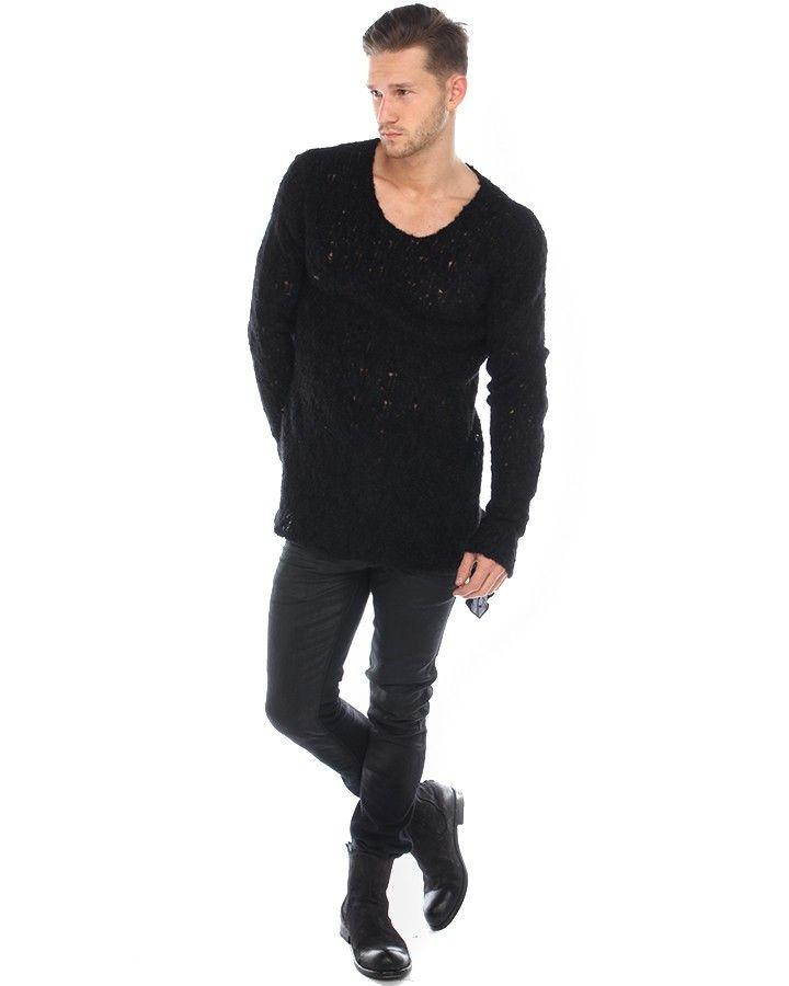 Thom Krom Grobstrick-Sweater Schwarz  warmer Grobstrick-Pullover aus Alpaca in Schwarz Rundkragen Used-Look hochwertiges, weiches Material lockerer Sitz