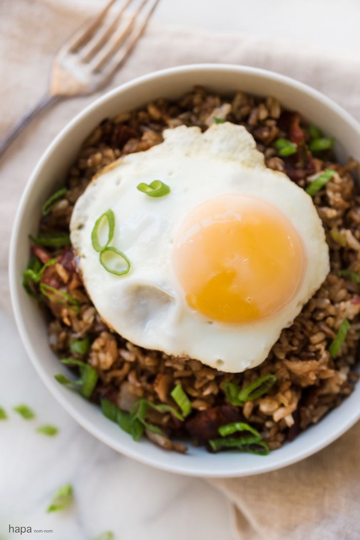 Breakfast Fried Rice with bacon, scallions, sesame seeds, and all ...