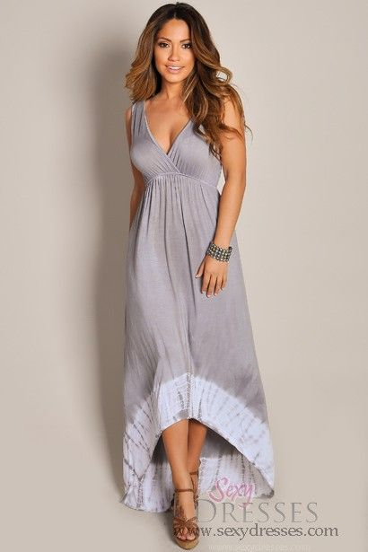 Grey V Neck High Low Maxi Dress Casual Maxi Dresses And