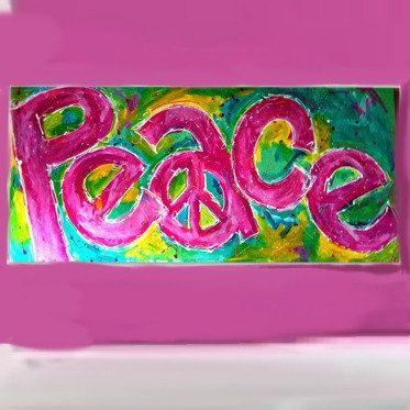 Sign of Peace Large Original Art Painting for Tween Teen Girls Room or Dorm 48x24 Pink Teal. via Etsy.
