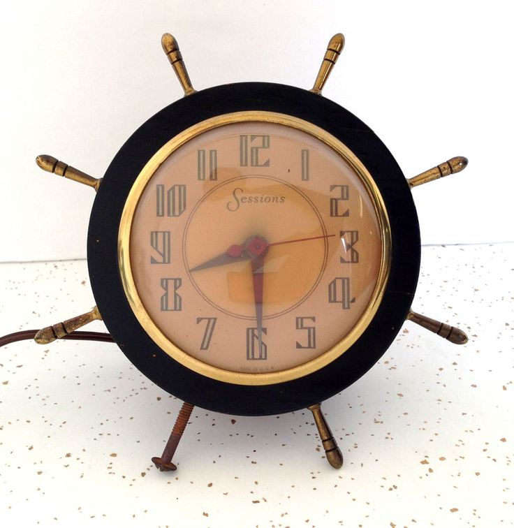 Vintage Nautical Sessions Electric Wood Mantel Clock of Ships Steering Wheel