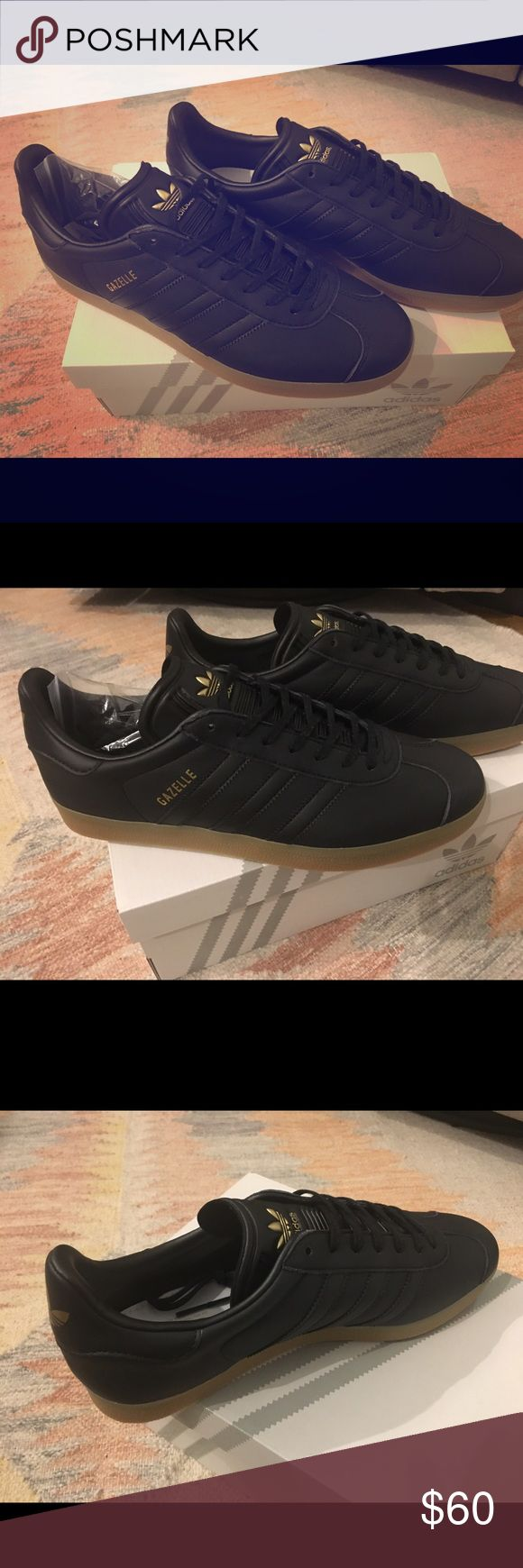 Adidas Men's Gazelles black leather new with box Adidas Black leather Gazelles with gum midsole. Gold trefoil, new and never worn. Comes with box, men's size 10 adidas Shoes Sneakers