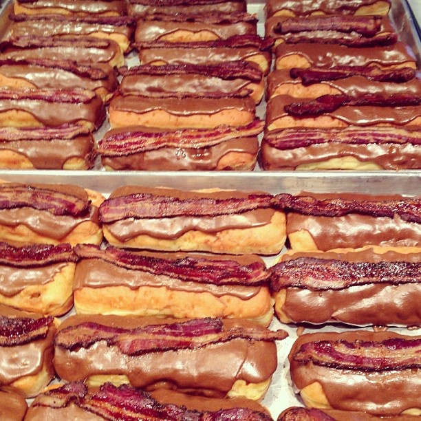 Glazed and Infused Chicago. Maple Bacon Long John.