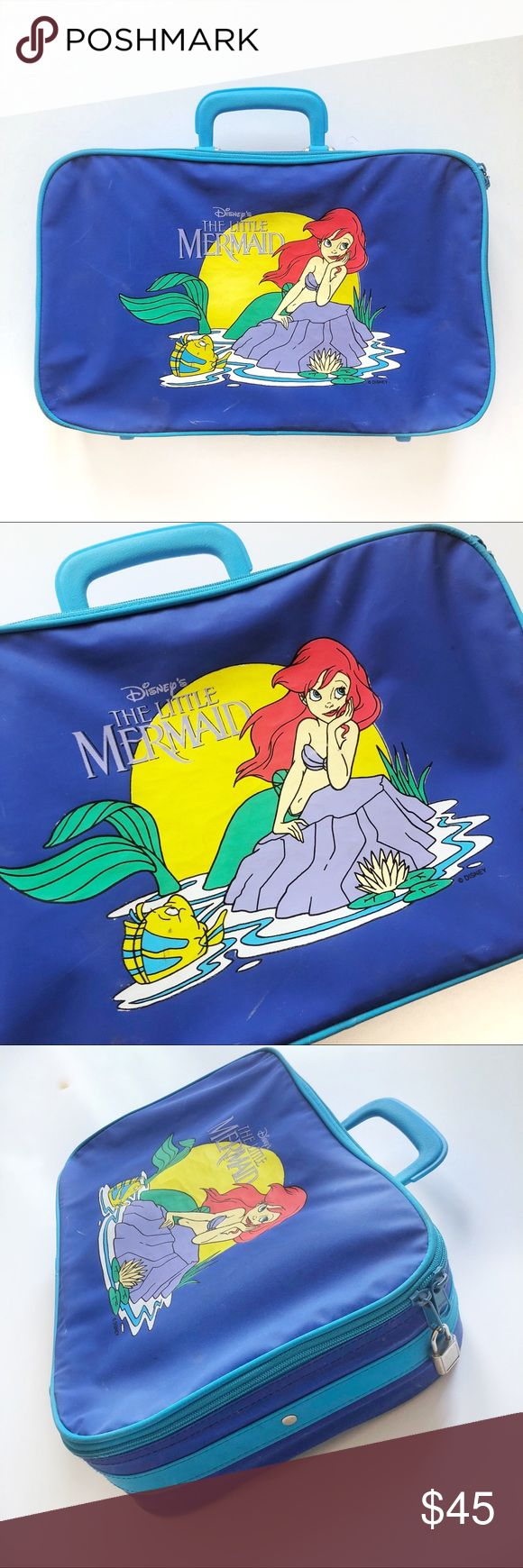 VTG🌈90s Little Mermaid Disney Mini Suitcase Tote So much yes! Adorable 90s vintage Little Mermaid mini suitcase/tote/briefcase by Disney. Features your favorite Ariel & Flounder, who want nothing more than to be Part of Your World 😜 Zips fully, strap inside for efficient packing. Lock on the zipper - I do not have a key for it. A few little nics & marks, but structurally perfect! Under the Sea fun begins here! Offers welcome! 🧜♀️🦀🐠🌊   Tags: Sebastian 90's Prince Eric Frozen Lion King…