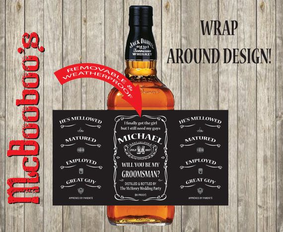 Will you be my Bestman or Groomsman Jack Daniels whiskey labels. Removable and weatherproof. Great way to ask!!