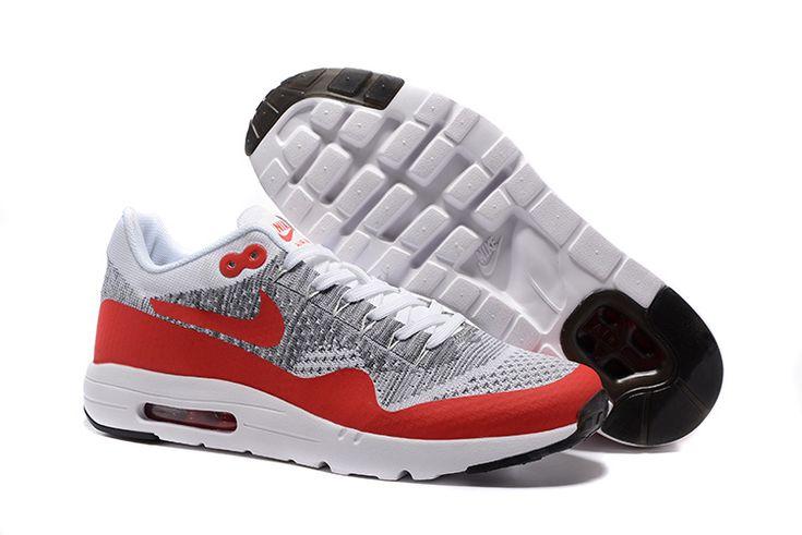 Nike Air Max 87 Flyknit Men's Shoe Grey Red White
