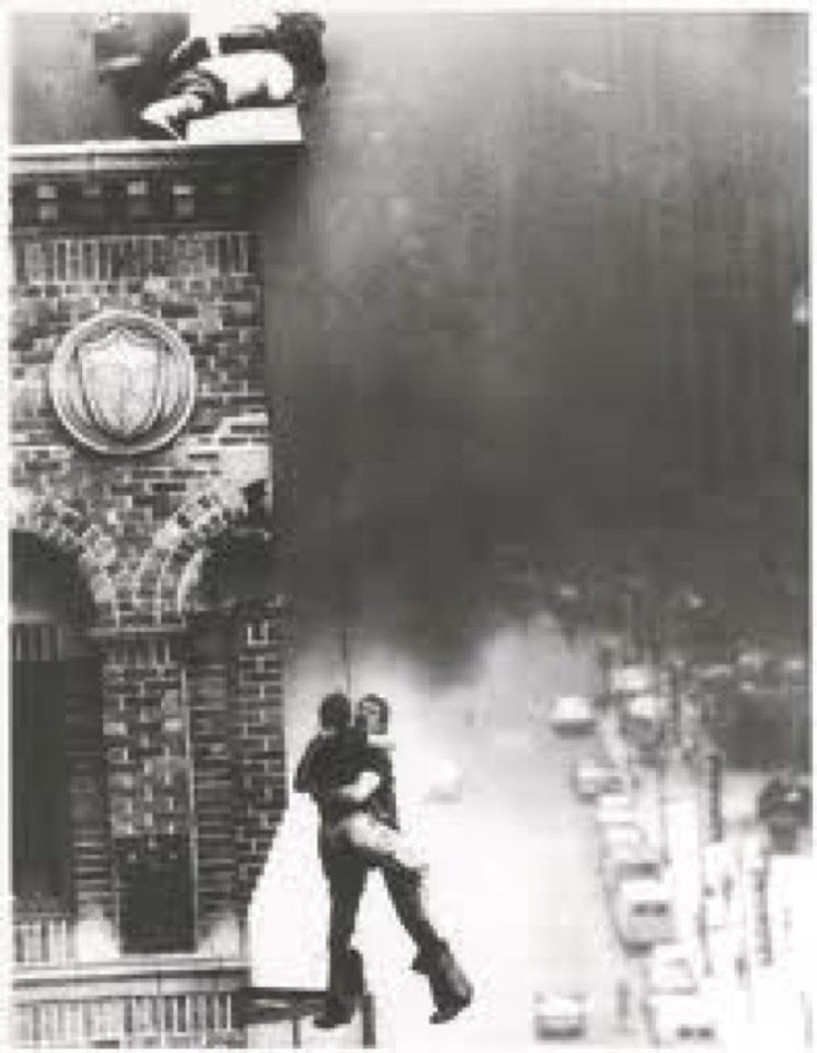 S A V I N G - L I V E S 22 Years Ago Today - Two roof rope rescues were made by FDNY firefighters at the same fire. Pictured is Kevin Shea lowered by Ray McCormack directing both rescues is then Lt. Pat Brown. Pat Barr who made the first rescue was lowered by Shea. History on Broadway! shared by nyfirestore.com