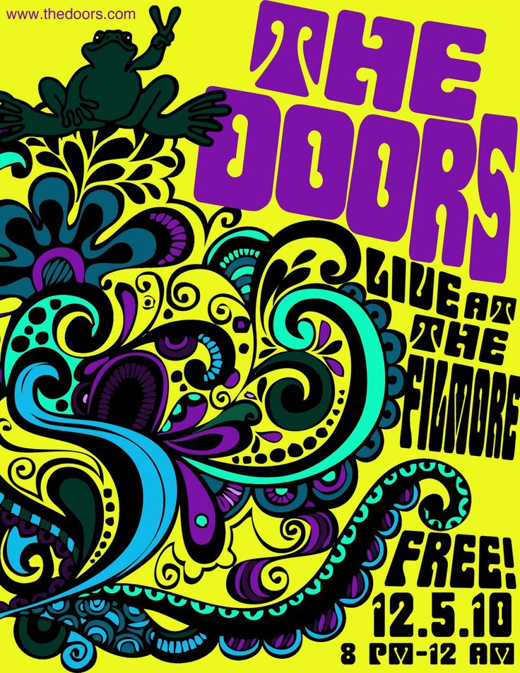 The Doors poster yellow with paisley print