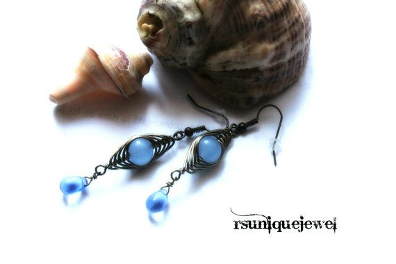 Wire Wrapped Dangle Earrings Long Earrings Blue by rsuniquejewel