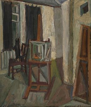 Andronov Nikolay: Interior of a Room (1973 Oil on cardboard).