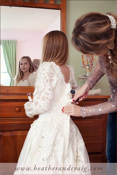 Cute Take a picture of your daughter in your wedding dress You can save it and give it to her on her wedding day It also opens up the conversation about her
