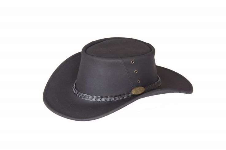 1153 Magpie Black. Oiled Cow Leather Hat by Jacaru. 3 Piece Crown with Angled Seam. Leather Plaited Hatband and Brass Jacaru Badge.