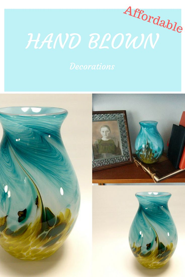 Beautiful spring/summer vase to buy! Hand Blown Art Glass Vase in Bright Teal Blue and Olive Green, Handmade glass, Made to order #vase #ad #farmhouse #homedesign #home #stands #furniture #decorations #homedecor