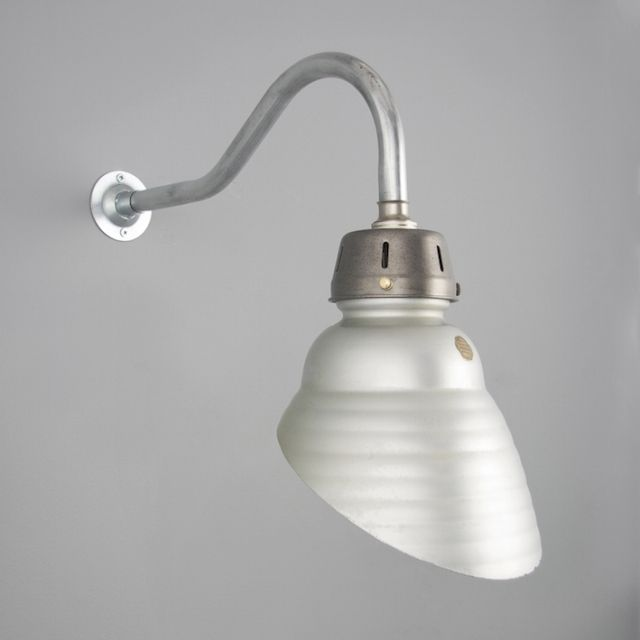 side view of original shop lighting with swan neck bracket