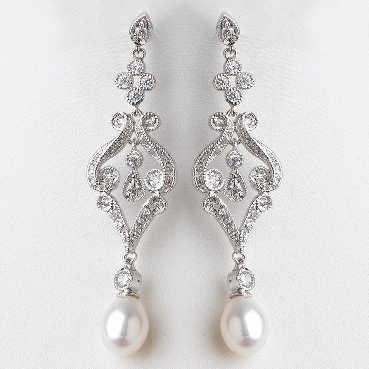 Elegant Vintage Style Cubic Zirconia And Pearl Wedding Earrings