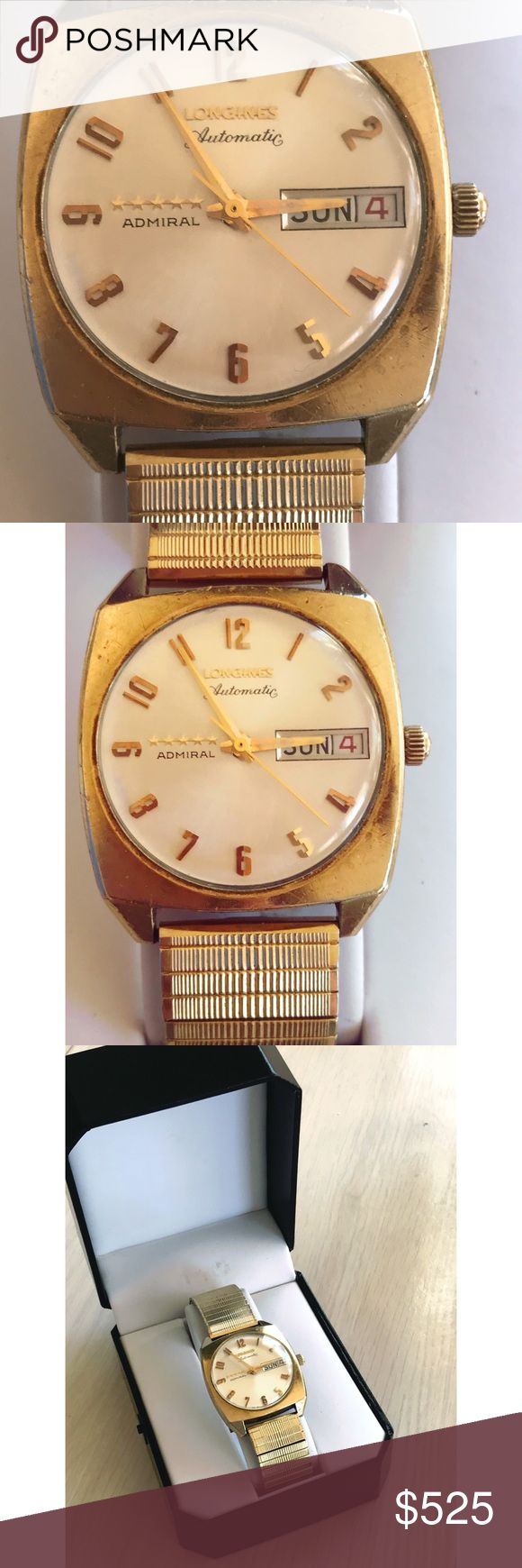 Vintage Longines admiral 5 Star watch Description Longines Admiral 5 Star 10K gold filled, calibre 342 auto c.1963-1966. 10K Gold fill monocoque case in Great overall condition. Vintage jewelry has marks & there is wear to the rear and wear on the the lugs as shown. GUC. Original signed crown, polished crystal. The movement is a calibre automatic, superb quality with a circular design rotor. Needs 1100 wrench to reach interior mechanisms. Works GREAT! *have not been able to adjust…