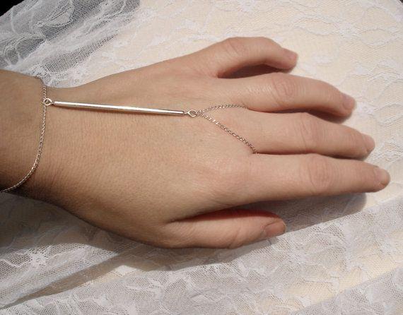 Hand Harness no.1 - Bar Tribal Chic Jewel -- Sterling Silver Bracelet Hand Piece