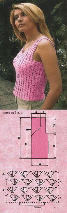 Элегантная модель для начинающих. Розовый топик на лето крючком.