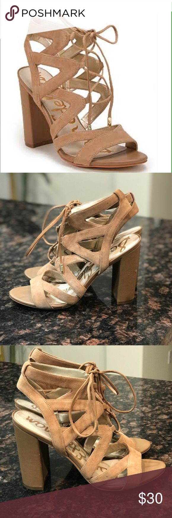 Sam Edelman Yardley Lace Up Sandals Sam Edelman Yardley Lace Up Sandals. Size 7.5. These have been worn and have signs of wear. There are several scuffs on the heels and toes.  Well loved. I loved them so much I bought new ones! Sam Edelman Shoes Sandals