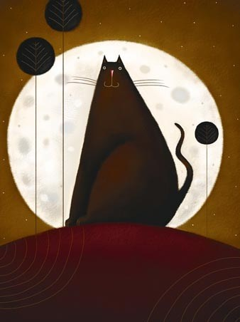 Cat and Moon ... would make a neat quilt