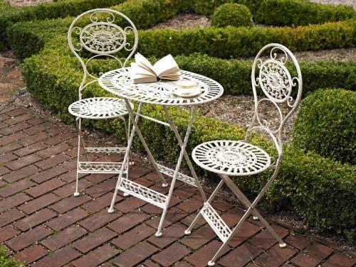 'Tea for two' cream bistro garden set - Melody Maison®