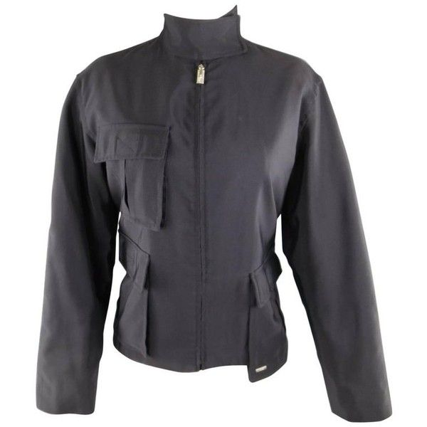 Preowned 1990s Gianni Versace Size 8 Black Cotton / Rayon High Collar... ($443) ❤ liked on Polyvore featuring outerwear, jackets, black, vintage jackets, military army jacket, army jackets, zip front jacket and military field jacket