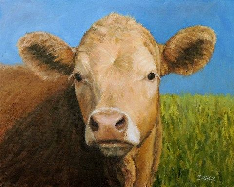 Guernsey Cow Cow Art Farm Animal Print 2017 Looking over