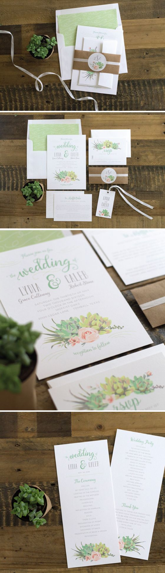 Romantic Succulents wedding invitation suite