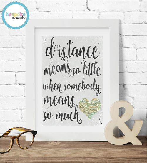 Long Distance Love Print by Bespoke Moments. Worldwide Shipping Available.