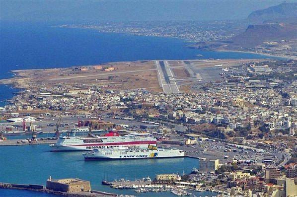 View of Heraklion Port and Airport
