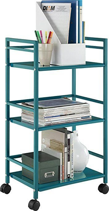 Amazon.com: Altra Marshall 3 Shelf Metal Rolling Utility Cart, Teal: Kitchen & Dining $31.98