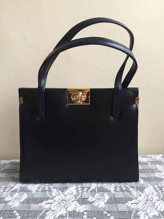 1960s vintage Chamelle Kelly navy blue bag gold by FaithInVintagex