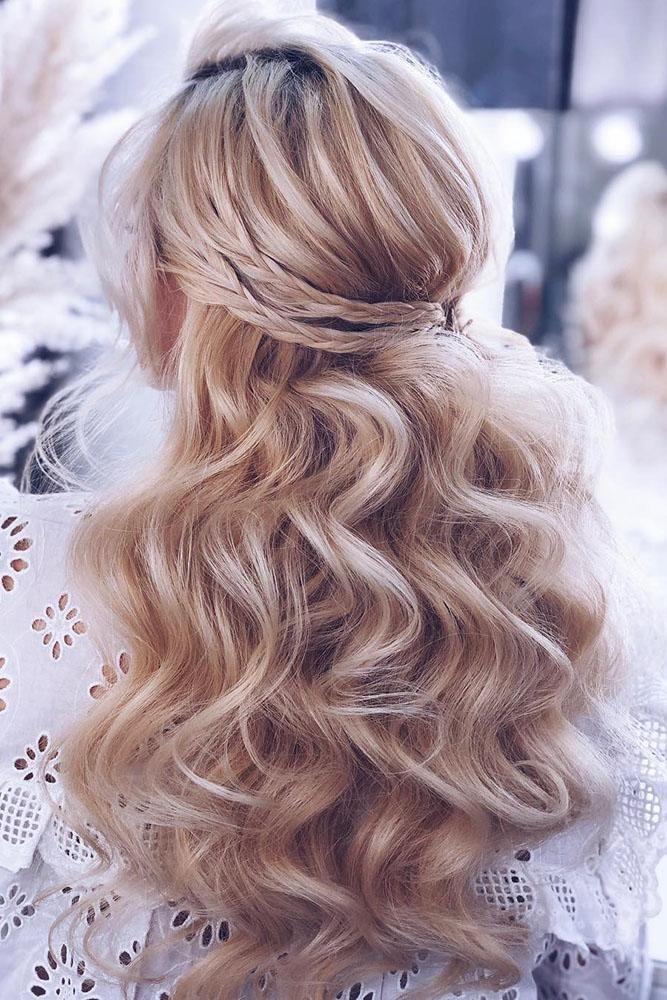45 Perfect Half Up Half Down Wedding Hairstyles Wedding Forward Curls For Long Hair Wedding Hair Down Hair Styles