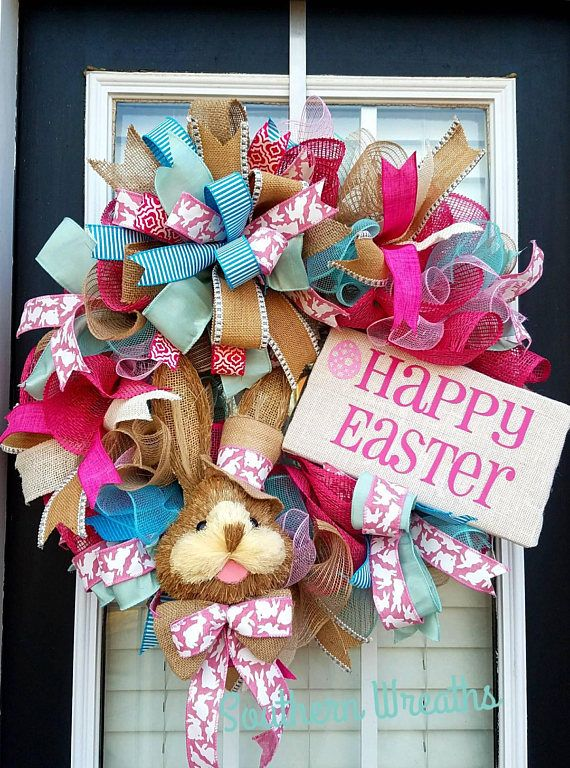 Easter Bunny Front Door Decoration Medium Sized Wreath Easter Fun