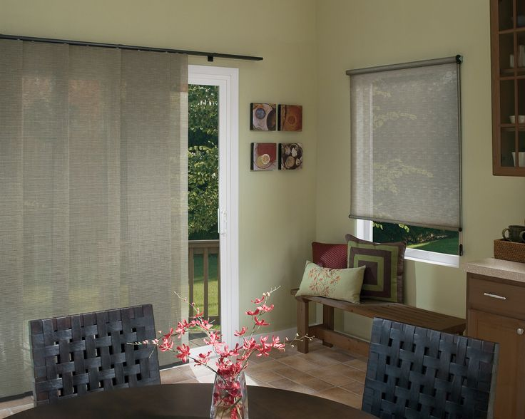 Hunter Douglas Skyline Panels (on Left) With Matching Designer Screen Shade  (on Right · Sliding Glass DoorGlass ...