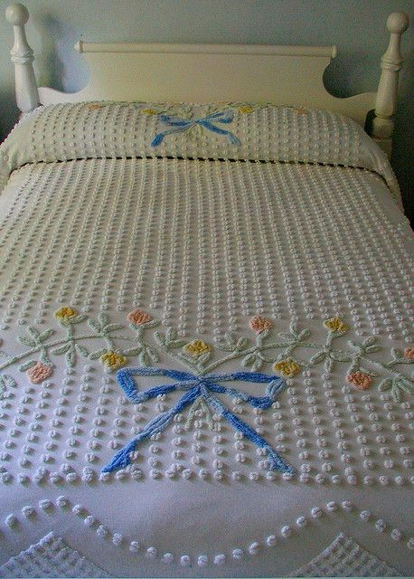 vintage chenille + bed.  My sister & I had Cinderella chenille twin spreads...so soft.