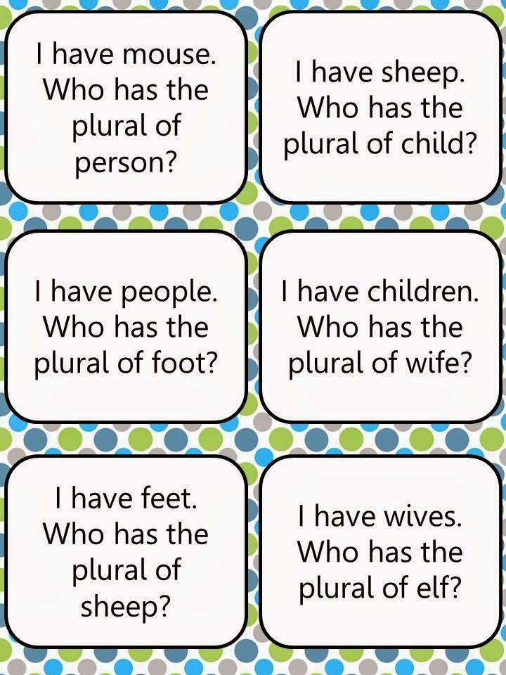 Irregular Plural Nouns Pack....Memory game cards, I have Who has class game, assessment pages and creative writing challenges! All for only $3.00. {Also available--common and proper nouns pack. See blog for more info.}