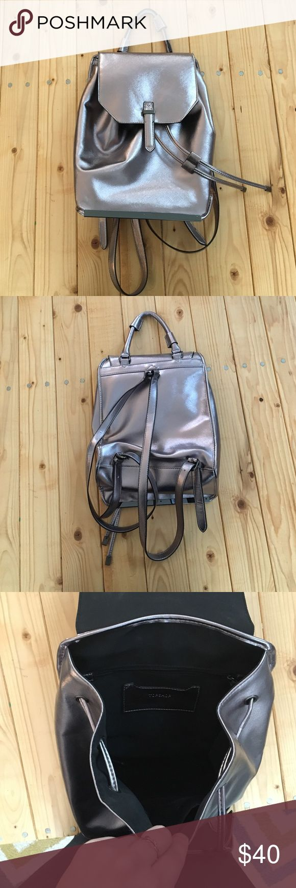 TopShop Metallic Backpack In like new condition. It is a purple tinged silver color. Topshop Bags Backpacks