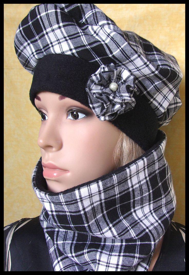Ensemble + béret snood en tissu coton flanelle à carreaux blanc noir : Chapeau, bonnet par orkan28