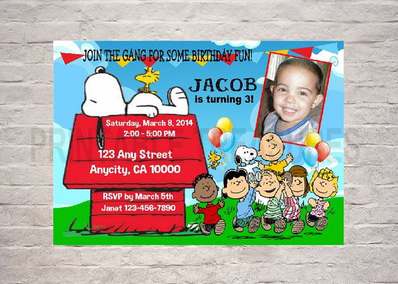 Custom PEANUTS GANG Charlie Brown Snoopy Birthday Party Invitation With Free Thank You Card Printable on Etsy, $7.95