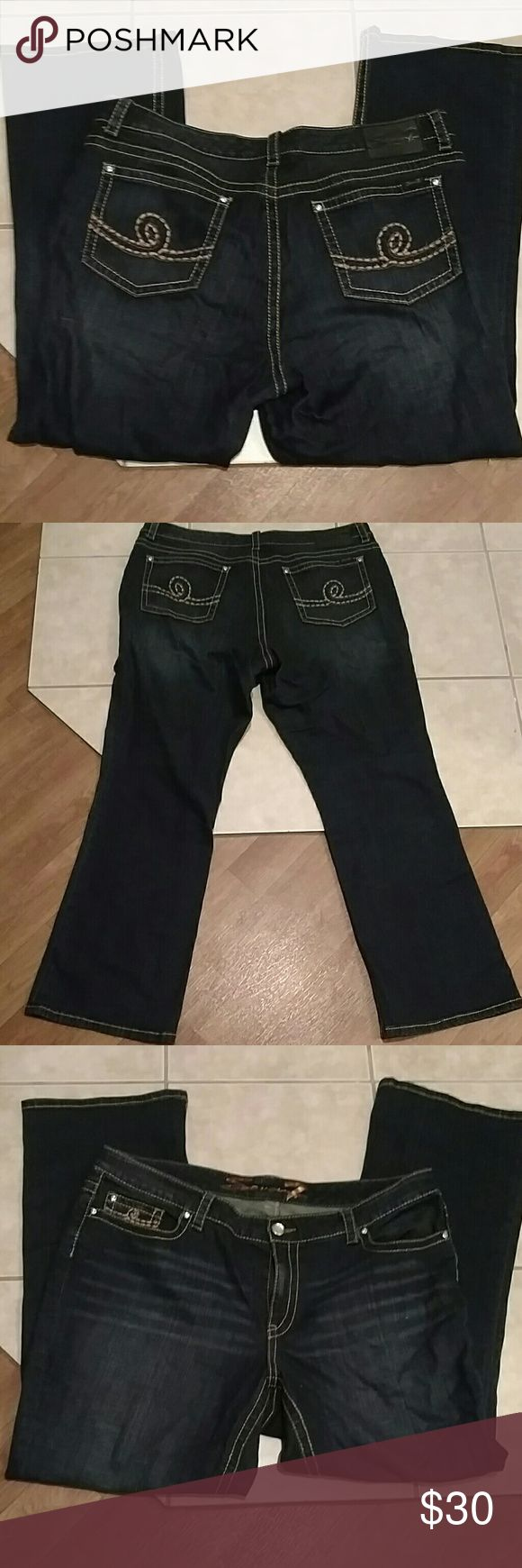 Seven jeans Sale.1 hr firm Great pair of seven jeans, dark rich blue with very minimal wear. Inseam is 33 inches, rise is 9 inches and waist flat measures 21.25 inches. These are size 22 with 98% cotton and 2% spandex so they have a nice stretch Seven7 Jeans Boot Cut